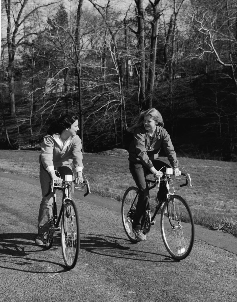 Young Girls Riding Schwinn Bicycles