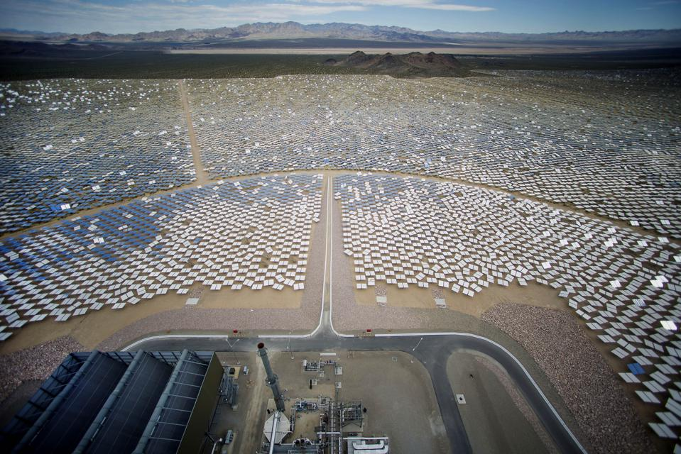 The mirrors of the Ivanpah solar thermal plant in California stretch into the distance.