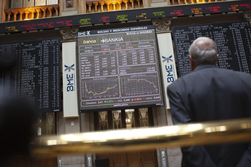 Madrid Stock Exchange As Spain Auctions Bills
