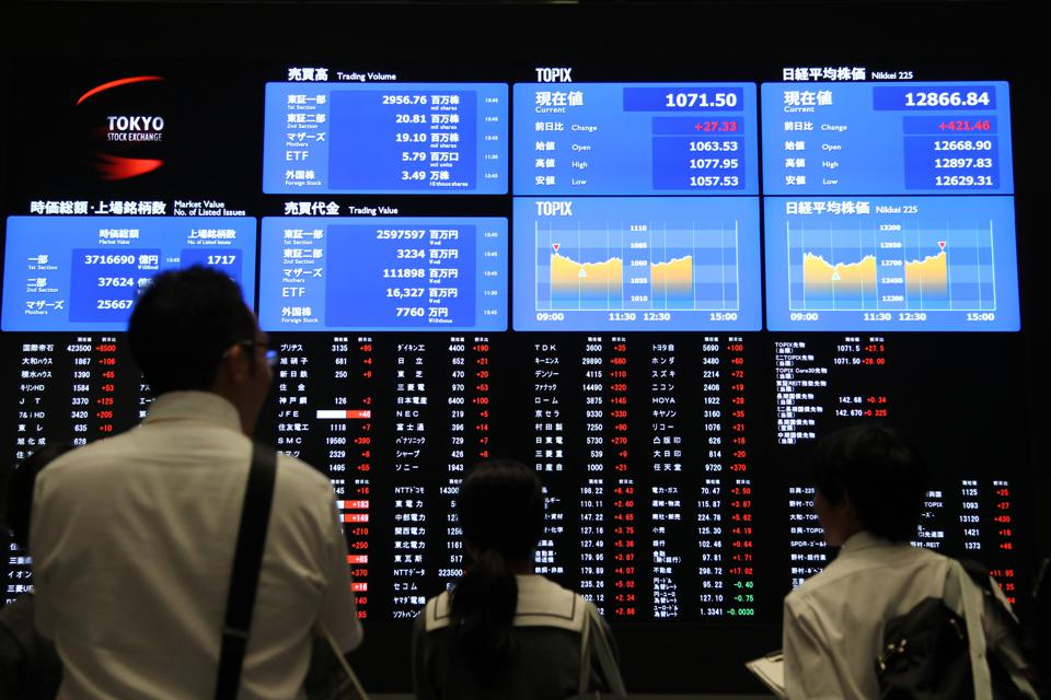 Tokyo Stock Exchange As Japanese Stocks Rebound After Biggest Plunge in Three Weeks