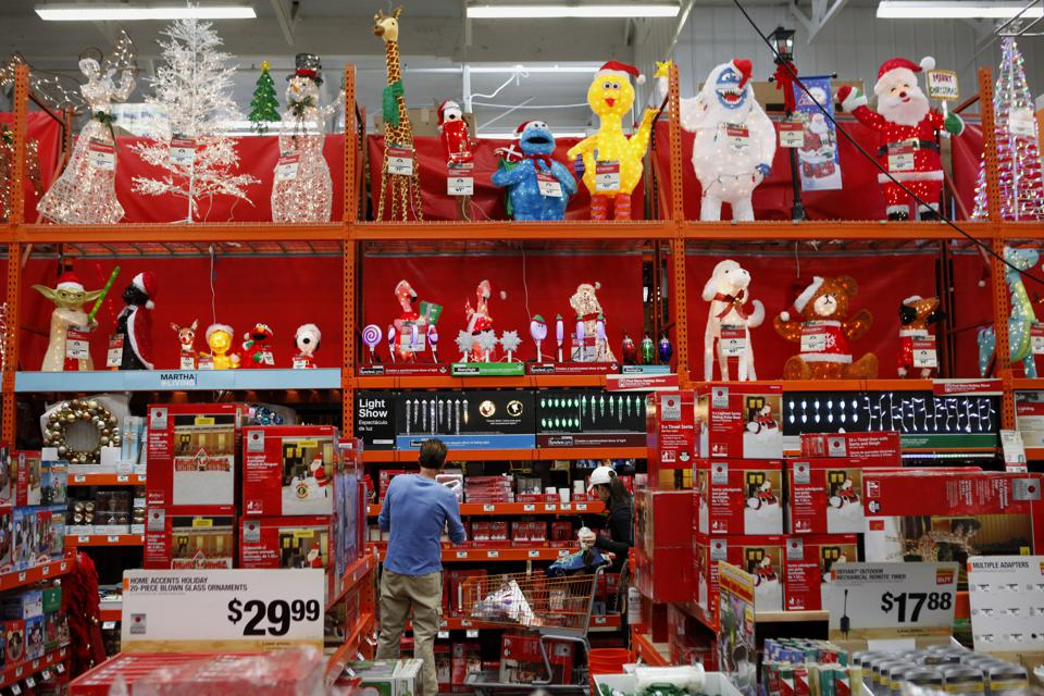 Inside A Home Depot Store During the Holiday Season