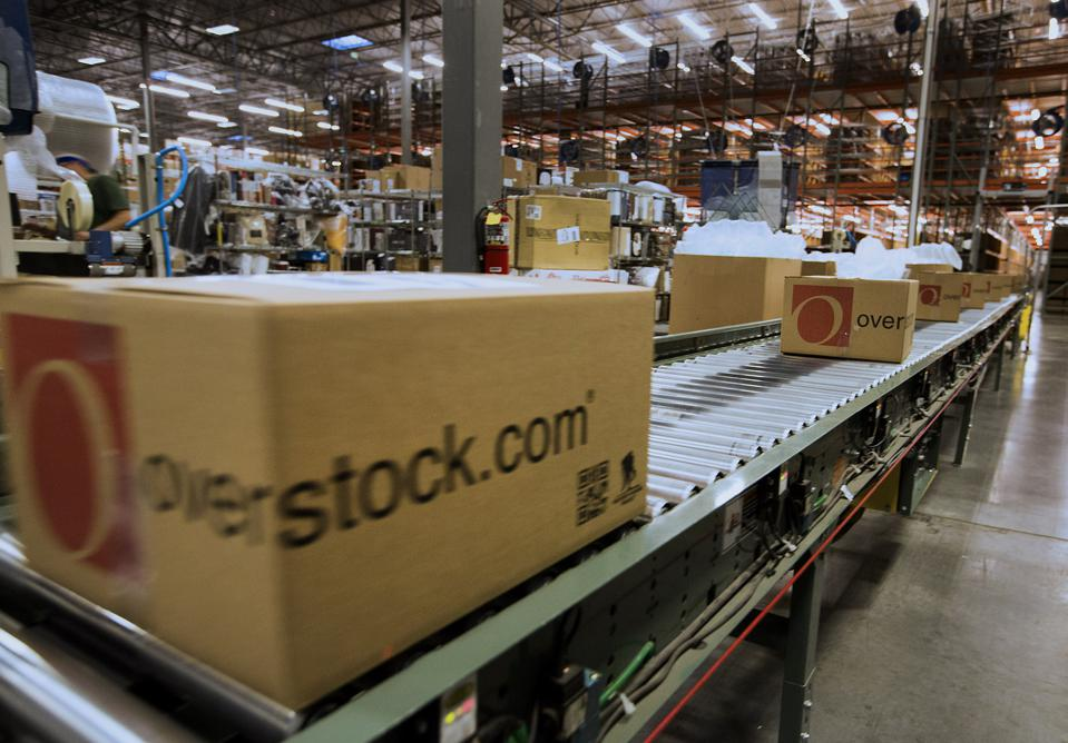 Operations within the Overstock.com distribution center on Cyber ​​Monday