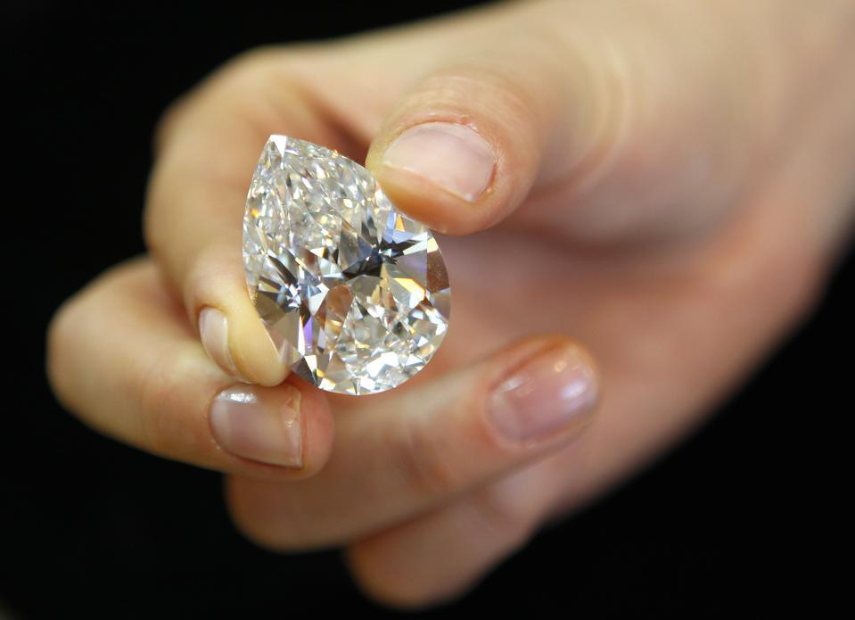 A 72.22 carat pear-shaped D-color diamond