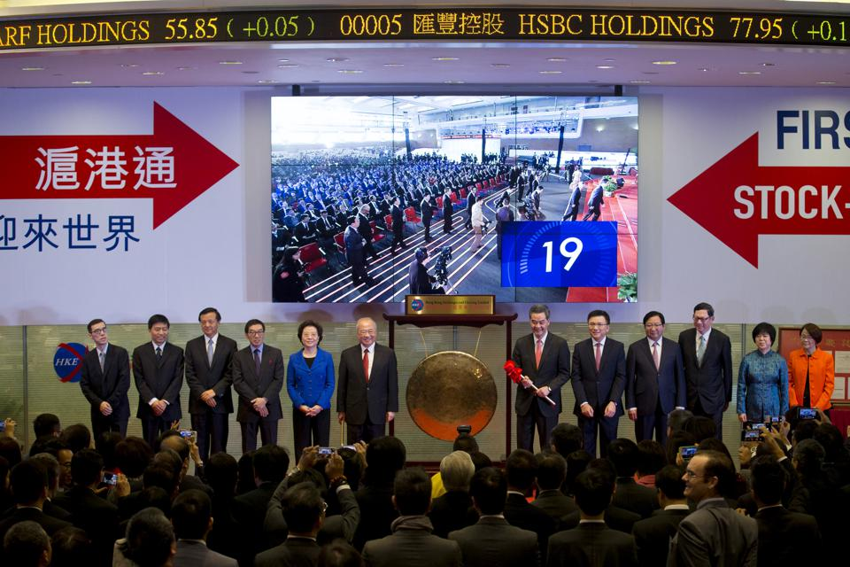 Launch Ceremony Of The Shanghai-Hong Kong Stock Connect As Exchange Link Debuts