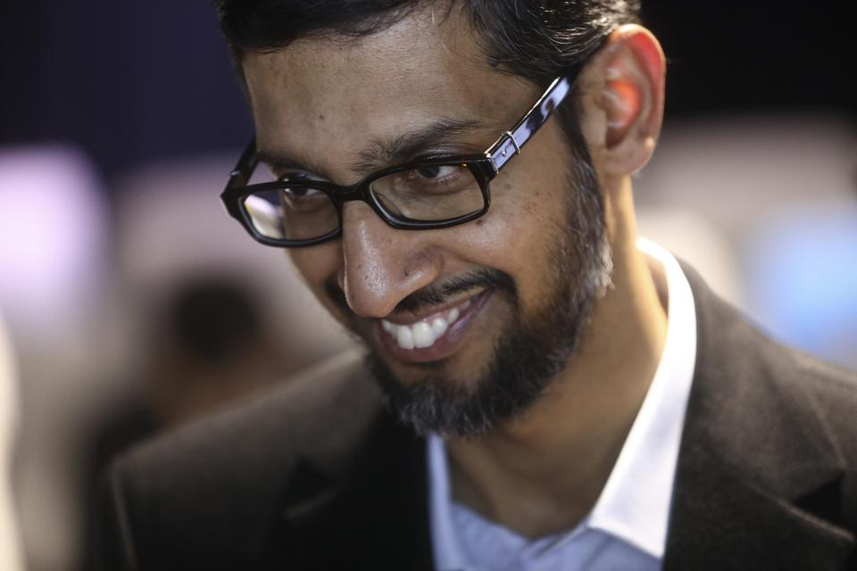 Google CEO Sundar Pichai at Google's Kings Cross office in London. (Photographer: Simon Dawson/Bloomberg)