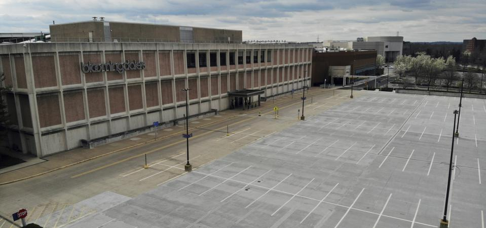 A view of the empty parking lot at the Bloomingdale's store at the Mall at Short Hills in Short Hills, NJ