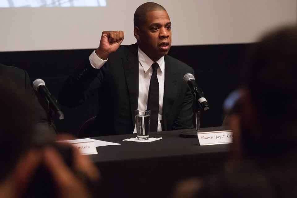 Shawn ″Jay Z″ Carter speaking at ″TIME: The Kalief Browder Story″ a press conference at The Roxy Hotel Cinema in New York. (Photo by Charles Sykes/Invision/AP)