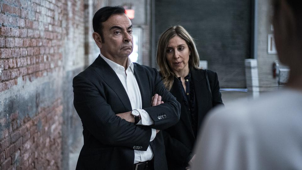 Carlos Ghosn, left, and his wife Carole Ghosn in 2017.