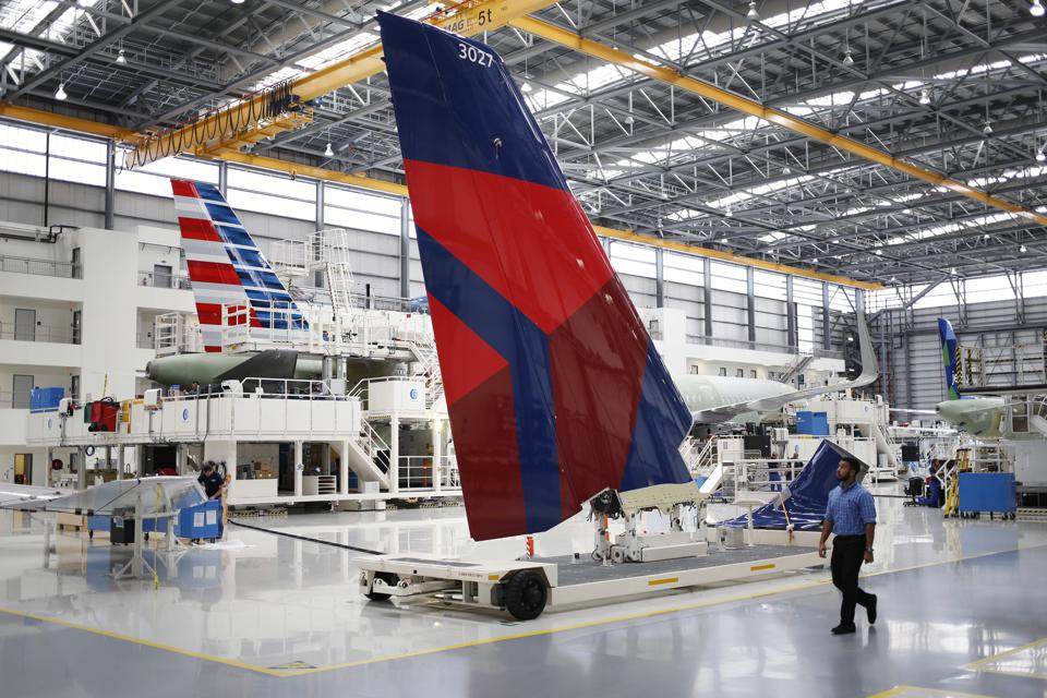Delta bertical stabilizer awaits aircraft assembly at Airbus Mobile plant