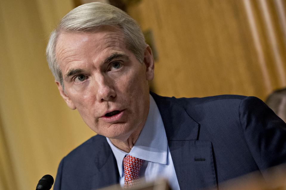 Senator Rob Portman, a Republican from Ohio, speaks during a Senate Finance Committee