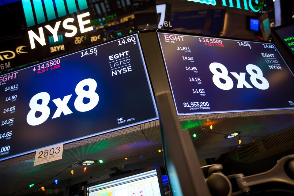 8x8 signage at New York Stock Exchange