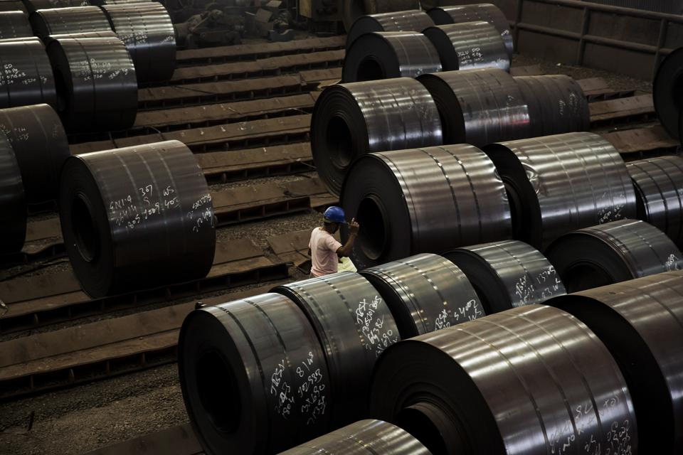 Rolls of stainless steel.