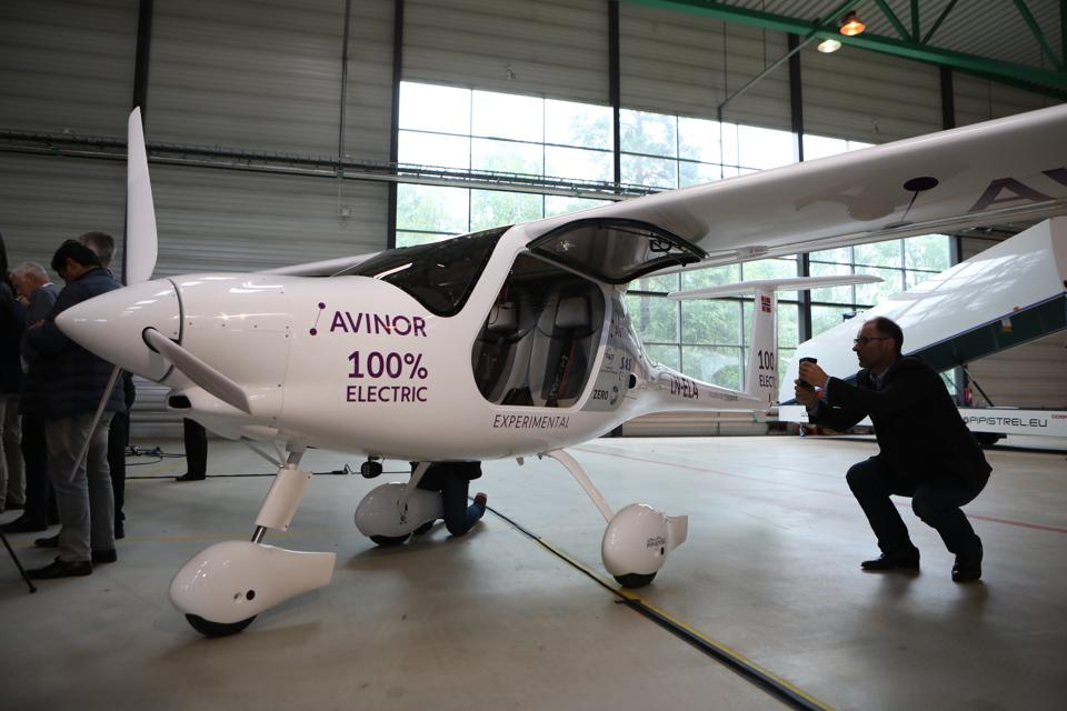 The two-seater all-electric plane ahead of its inaugural flight in 2018.
