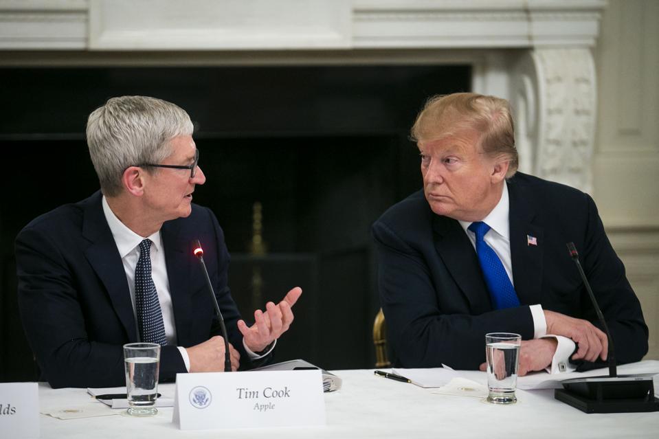 President Trump and Tim Cook meet