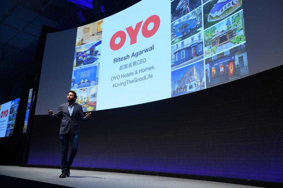 Oyo CEO Ritesh Agarwal speaking at a SoftBank event in 2019, in happier times.