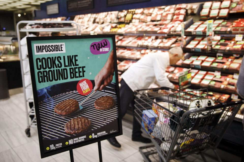 Impossible Foods sign in a grocery story. Photographer: Patrick T. Fallon/Bloomberg