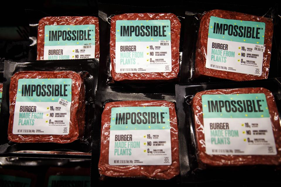 Packages of Impossible Foods' plant-based burgers. Photographer: Patrick T. Fallon/Bloomberg