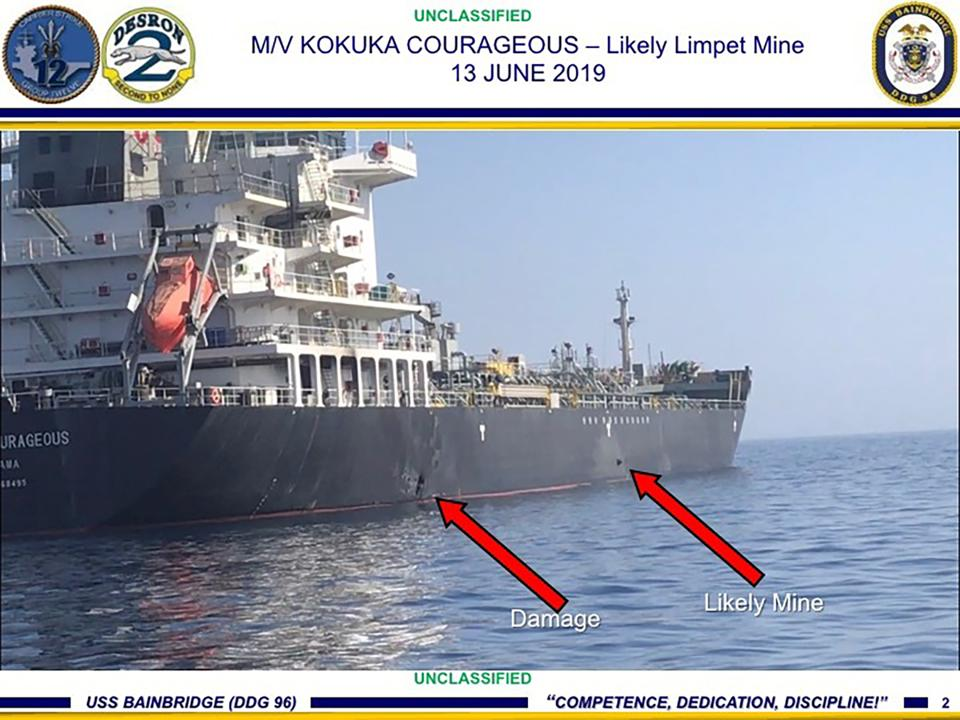 Damage and a suspected mine on the Kokuka Courageous