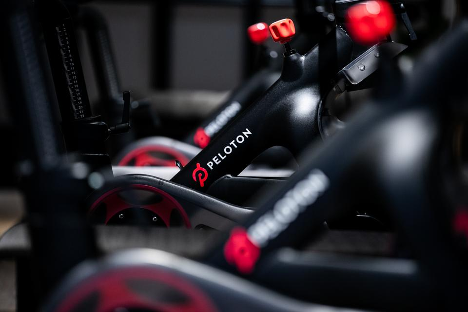 Peloton's stationary bicycles sit on display at the company's showroom in New York.