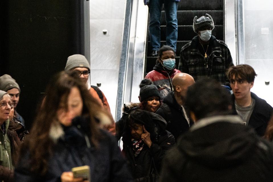 Pedestrians in New York subway
