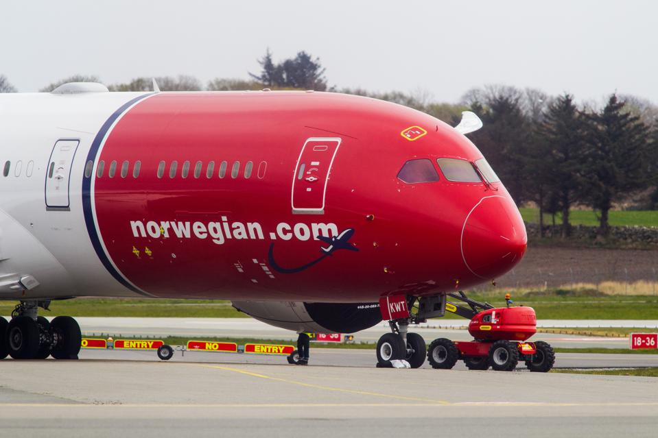 Norwegian Air aircraft grounded at Stavanger Airport in Norway.