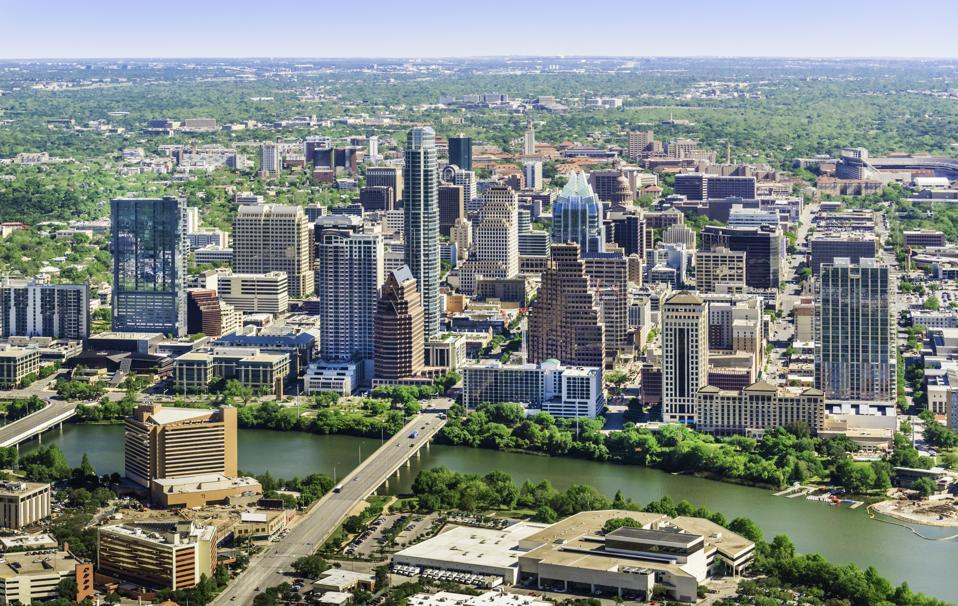 Austin Texas skyline cityscape aerial view