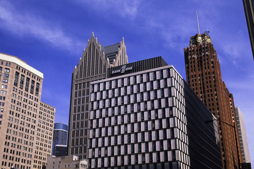USA, Michigan, Detroit, Downtown, Office Buildings...