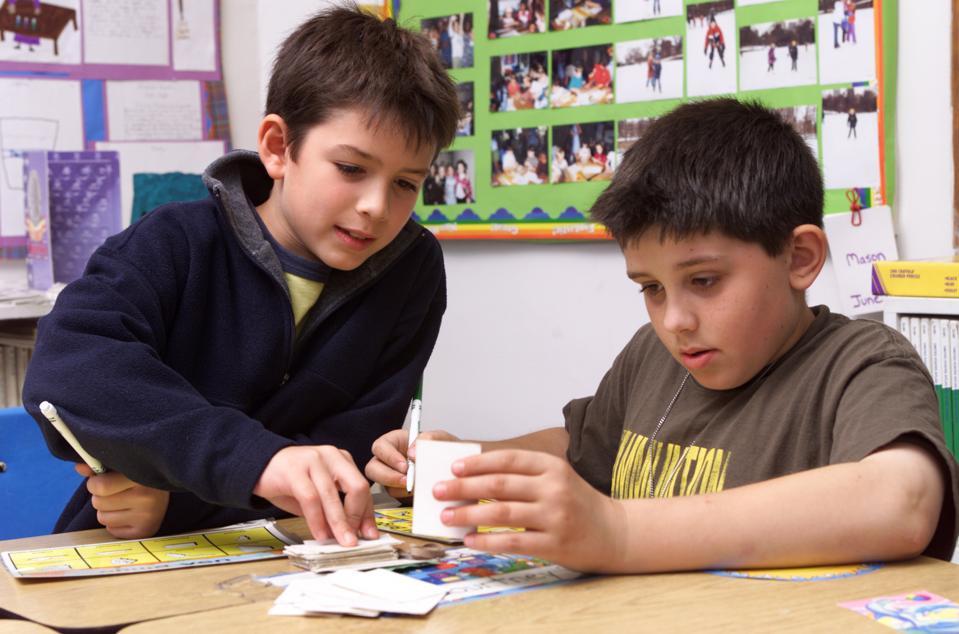 Two Boys In 4Th Grade Classroom
