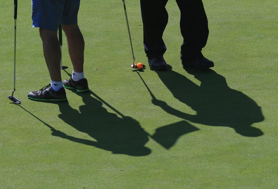 Shadows of Amateur Golfers