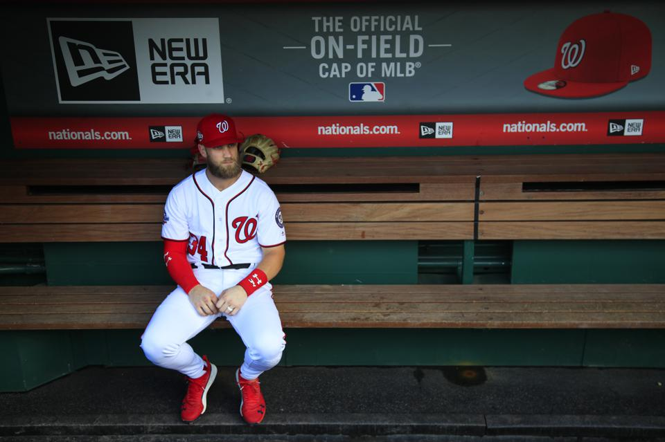 Bryce Harper before the Nationals' home finale on September 26.