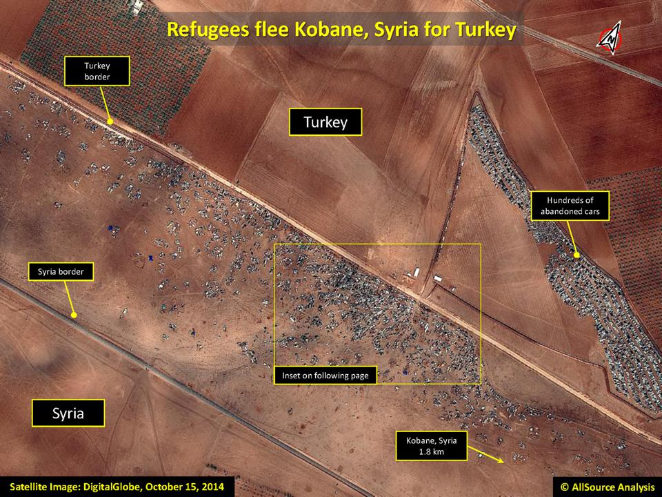 AllSource Analysis of DigitalGlobe Imagery from October 15th, 2014, shows tghe abandoned cars as refugees flee Kobane, Syria.