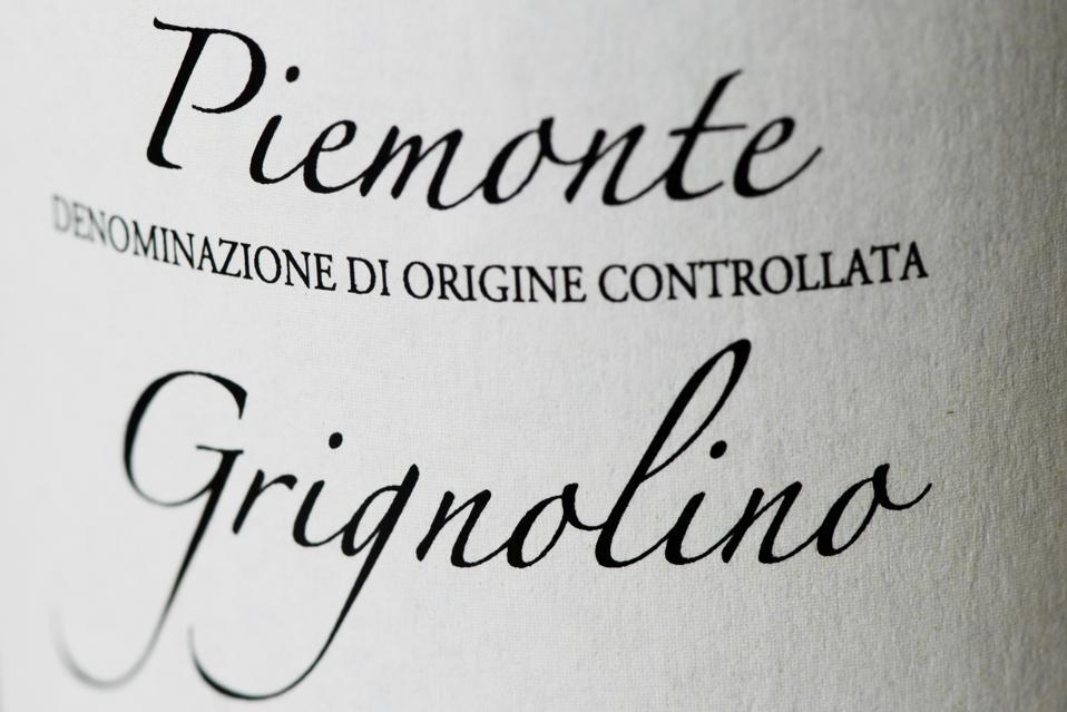 Bottle label of Grignolino wine