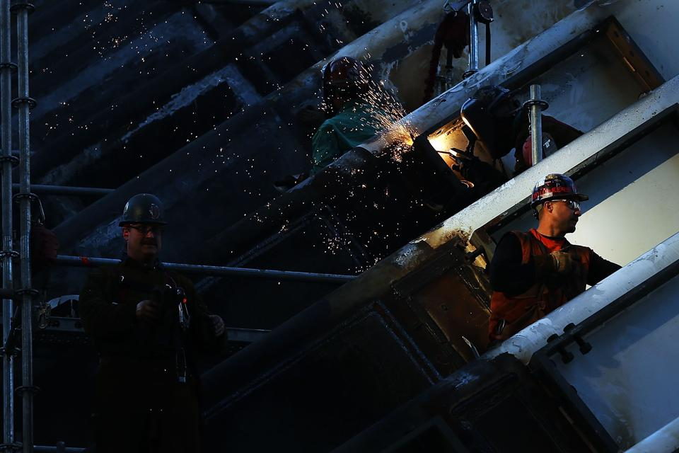 Workers welding at the World Trade Center construction site.