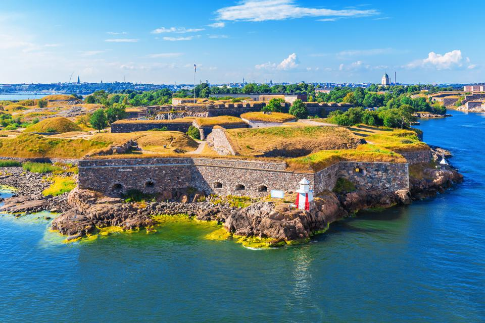 An aerial view of Suomenlinna Fortress in Helsinki, Finland