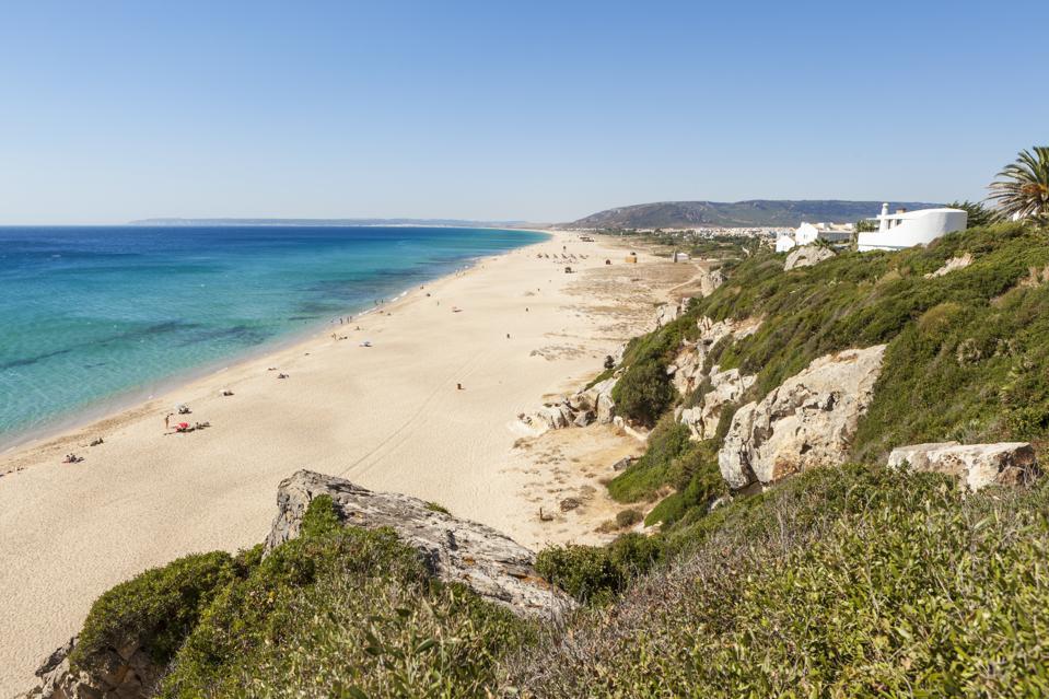 Zahara de los Atunes, Cadiz, Spain, bleached beach to protect from COVID-19.