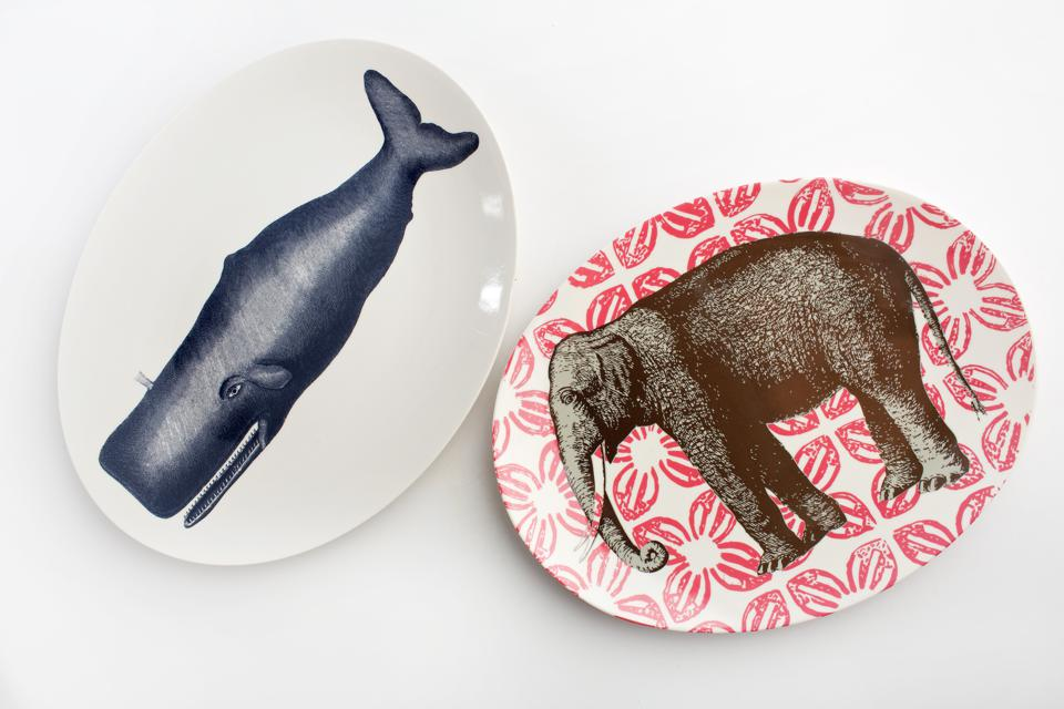 Whale tray and elephant platter/tray