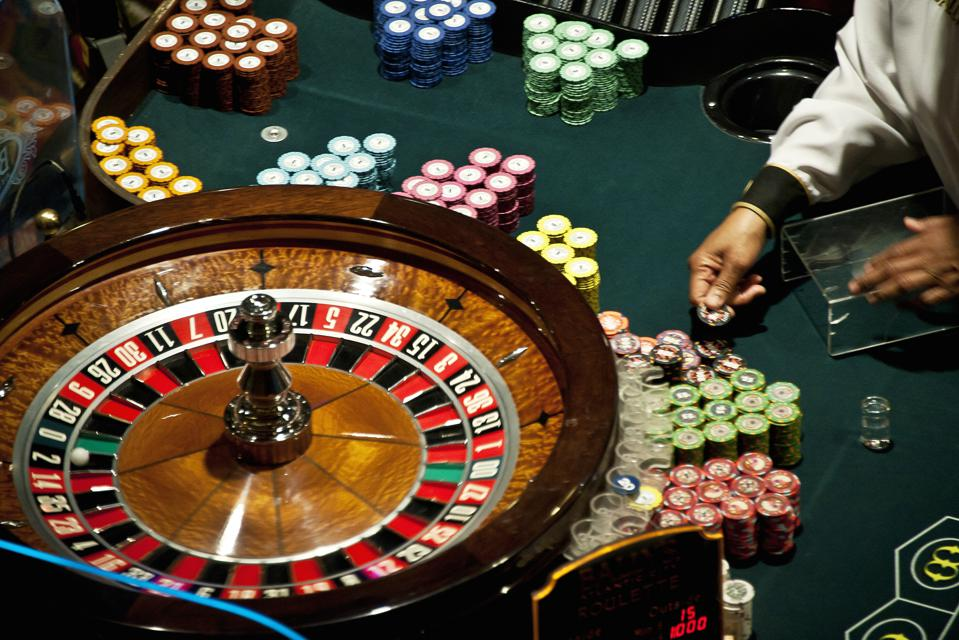 Casino roulette table...