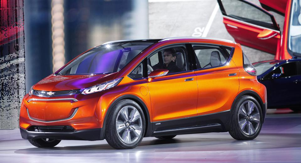 Parts that do not need to be replaced in electric vehicles, such as the Chevrolet Bolt in this picture, include fan belts and air filters.