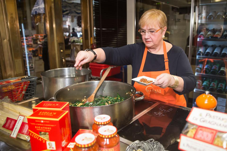 Lidia Bastianich during a cooking class at Eataly in New York. (Photo by Ben Hider/Getty Images)