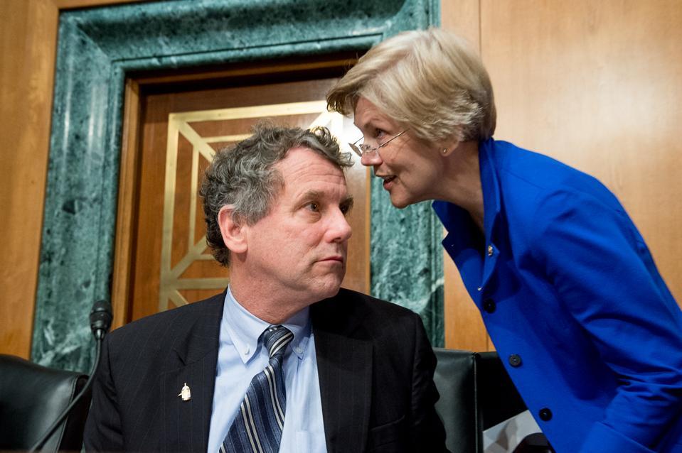 Profile of Sen. Sherrod Brown (D-Ohio) and Sen. Elizabeth Warren (D-Mass.).