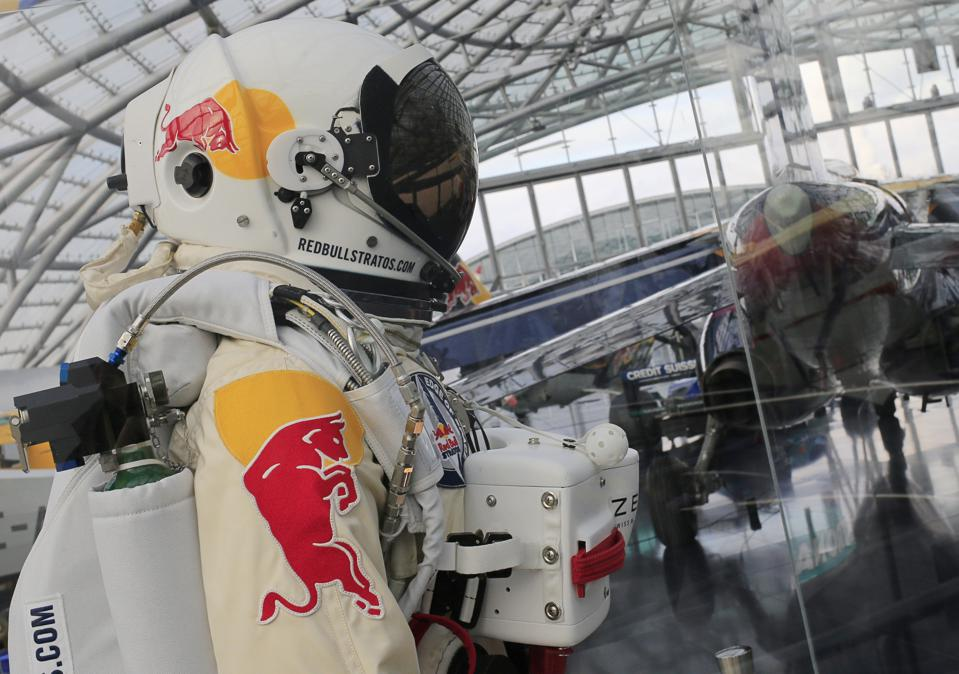 The pressurized suit used during the Red Bull Stratos mission in 2012.