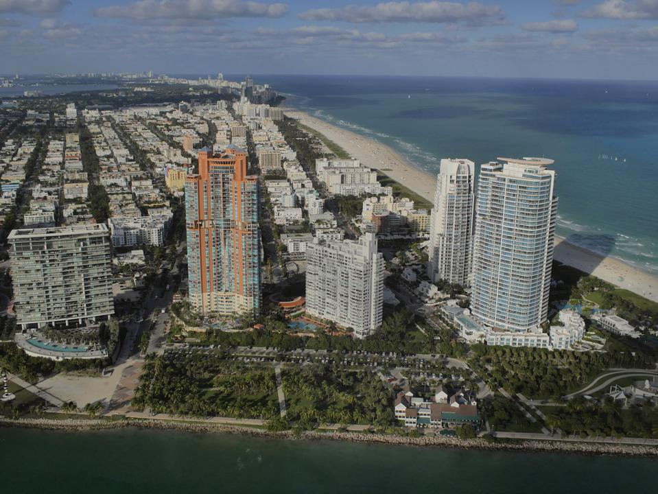Miami South Beach and Art Deco District from a helicopter