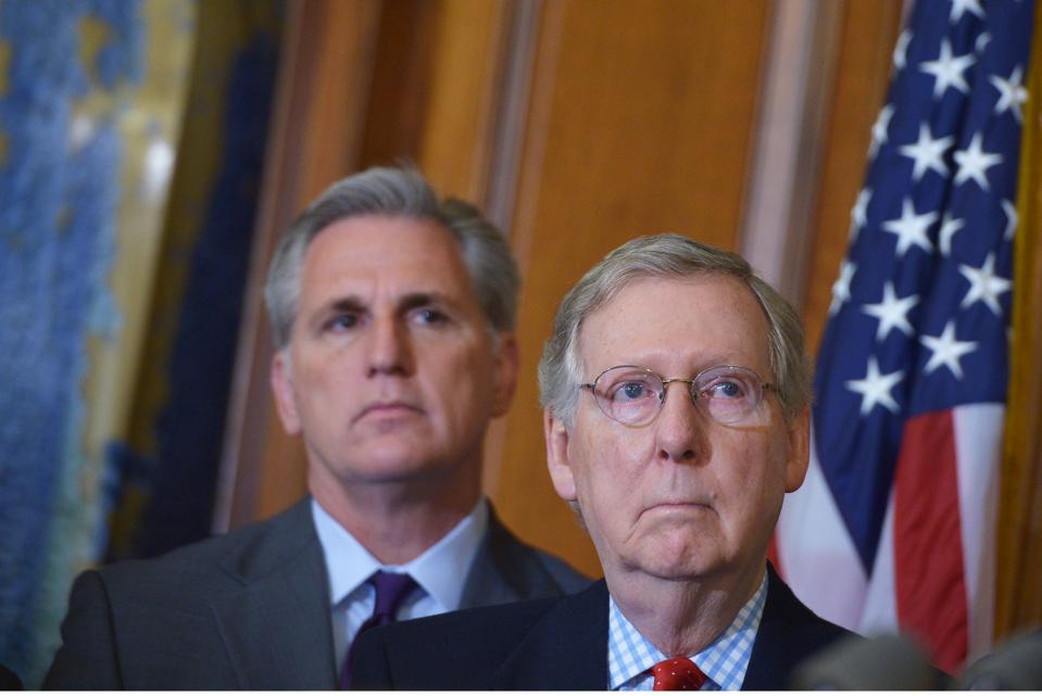 Senate Majority Leader Mitch McConnell and House Majority Leader Kevin McCarthy, briefed President Trump and Steve Mnuchin on the GOP stimulus package proposal earlier today.