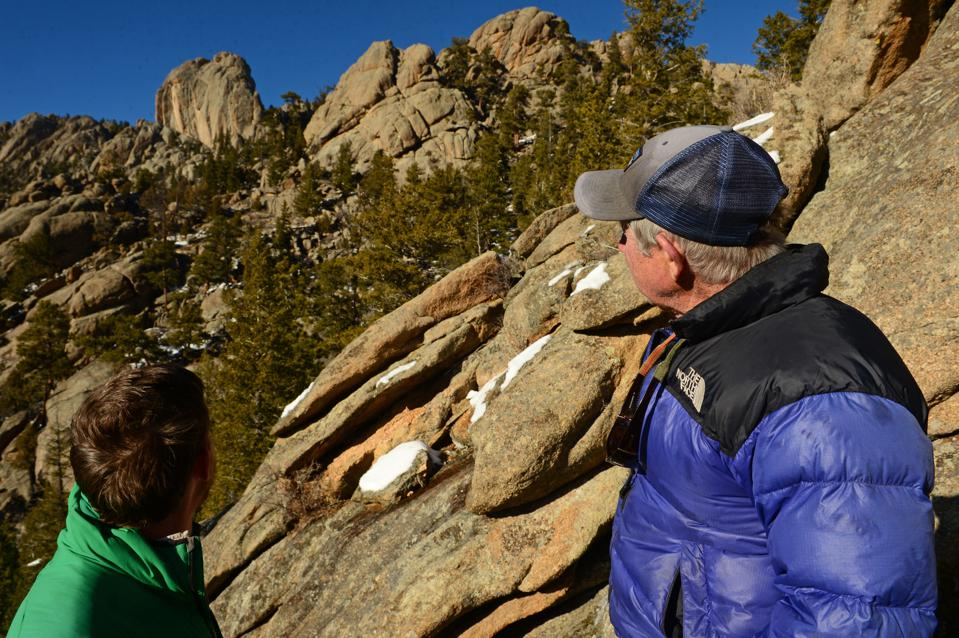 Tommy Caldwell with his father Mike in Estes Park, Colorado.