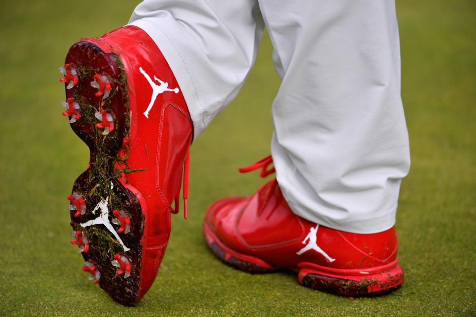 Keegan Bradley Red Jordan Golf Shoes