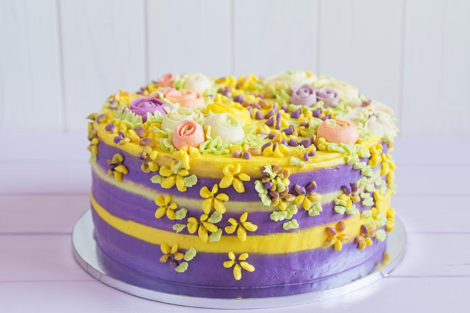 Colorful homemade cake with flowers