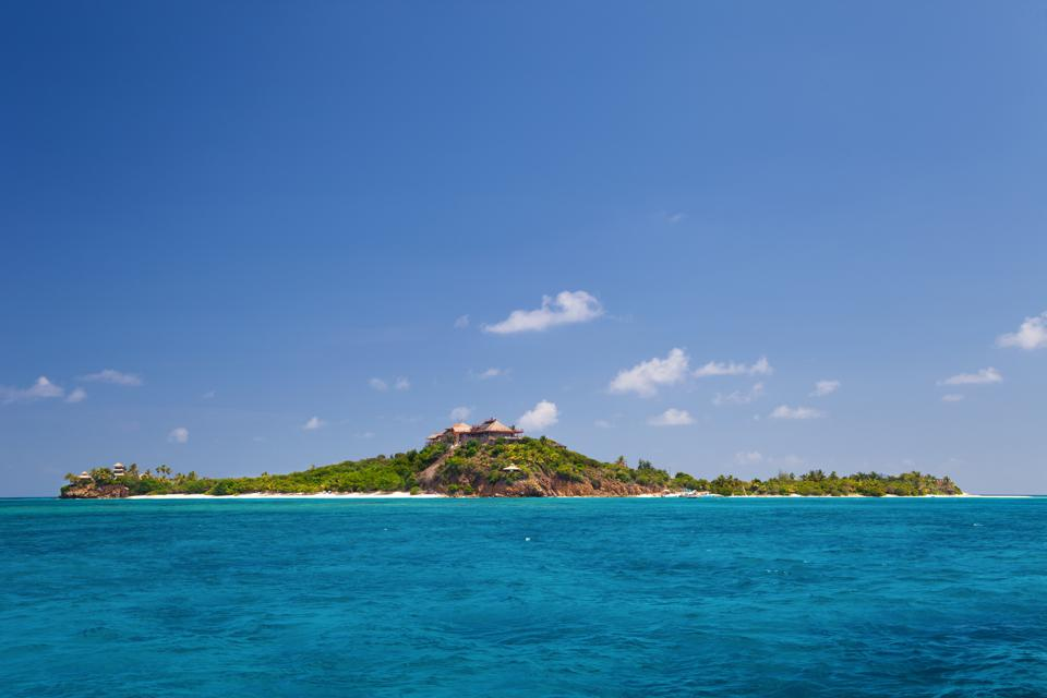 luxurious Necker Island, British Virgin Islands taken from a boat