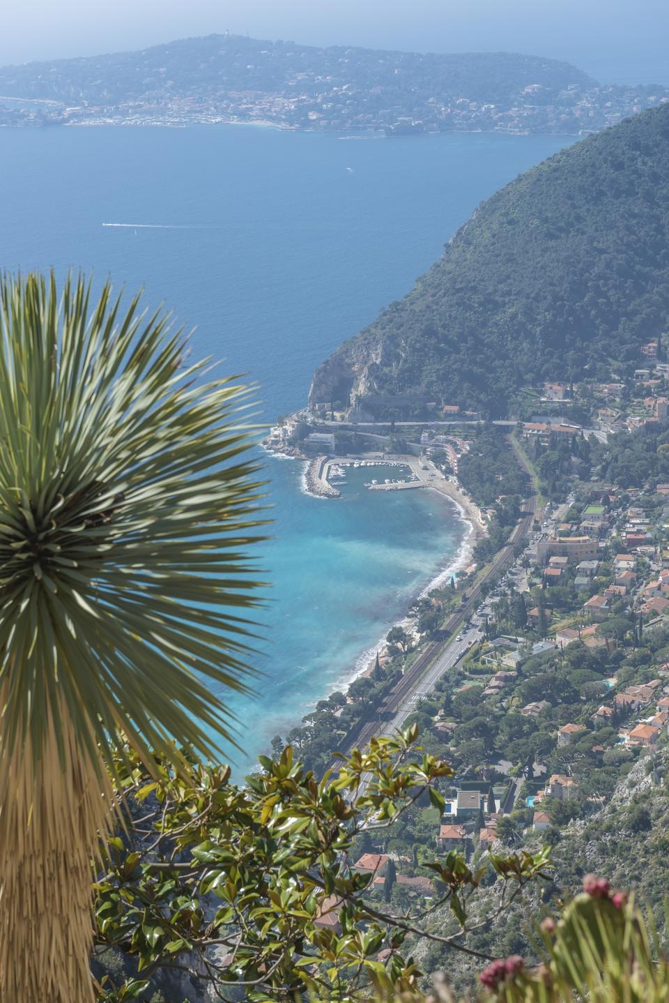 View down onto Eze-sur-Mer and the azure blue Mediterranean