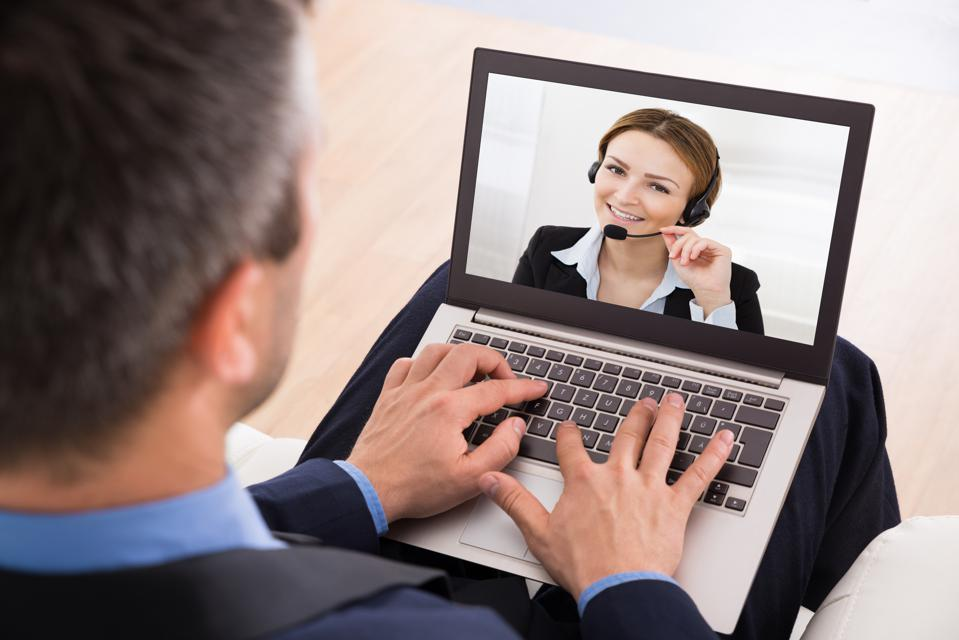 Businessman Video Chatting about a job interview