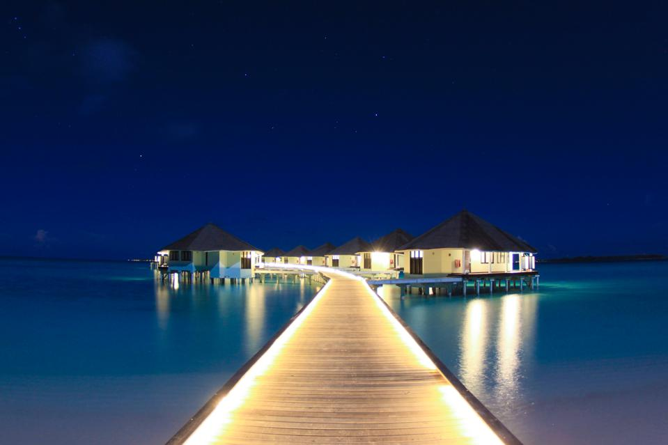 Maldivian Water Villas at Night